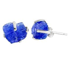 925 sterling silver 6.94cts natural raw tanzanite rough stud earrings r79504