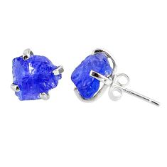 925 sterling silver 7.36cts natural raw tanzanite rough stud earrings r79530