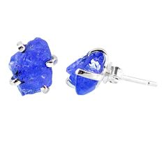 925 sterling silver 7.36cts natural raw tanzanite rough stud earrings r79540