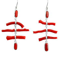 925 sterling silver 23.91cts natural red coral dangle earrings jewelry r33217