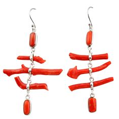 925 sterling silver 22.05cts natural red coral dangle earrings jewelry r33234