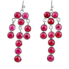 925 sterling silver 18.12cts natural red garnet chandelier earrings r33408