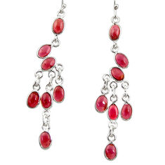 925 sterling silver 11.73cts natural red garnet chandelier earrings r33547