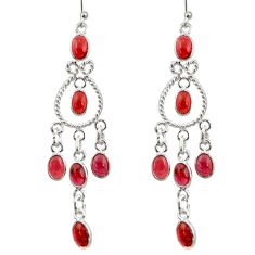 925 sterling silver 11.62cts natural red garnet chandelier earrings r33587