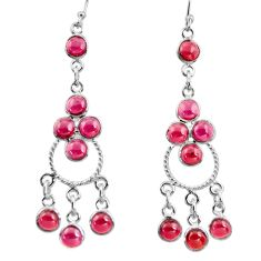 925 sterling silver 14.26cts natural red garnet chandelier earrings r37389