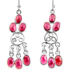 925 sterling silver 11.08cts natural red garnet chandelier earrings r37409