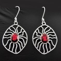 925 sterling silver 6.26cts natural red garnet dangle earrings jewelry d40060