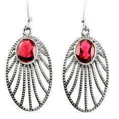 925 sterling silver 6.26cts natural red garnet dangle earrings jewelry d40084
