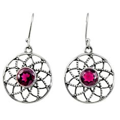 925 sterling silver 4.22cts natural red garnet dangle earrings jewelry d40136