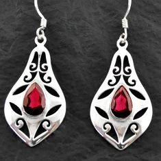 925 sterling silver 5.28cts natural red garnet dangle earrings jewelry d40616