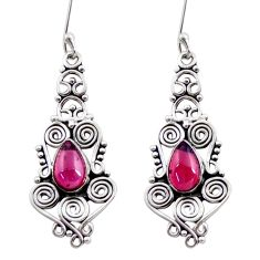 925 sterling silver 4.82cts natural red garnet dangle earrings jewelry d41158