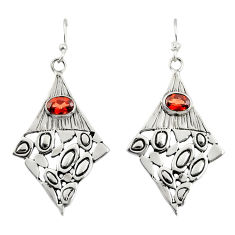 925 sterling silver 3.10cts natural red garnet dangle earrings jewelry d47165