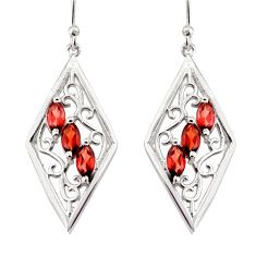 925 sterling silver 6.03cts natural red garnet dangle earrings jewelry r36695