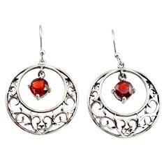 925 sterling silver 2.51cts natural red garnet dangle earrings jewelry r36800