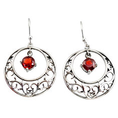 925 sterling silver 2.52cts natural red garnet dangle earrings jewelry r36814