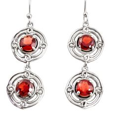 925 sterling silver 5.12cts natural red garnet dangle earrings jewelry r36855