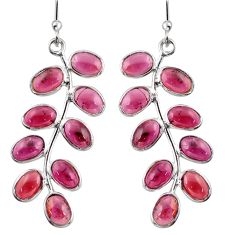 925 sterling silver 14.73cts natural red garnet dangle earrings jewelry r38666
