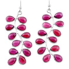 925 sterling silver 18.79cts natural red garnet dangle earrings jewelry t1763