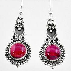 925 sterling silver 5.79cts natural red garnet dangle earrings jewelry t26803
