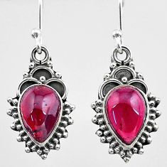 925 sterling silver 4.71cts natural red garnet dangle earrings jewelry t26864