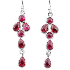 925 sterling silver 7.17cts natural red garnet dangle earrings jewelry t4764