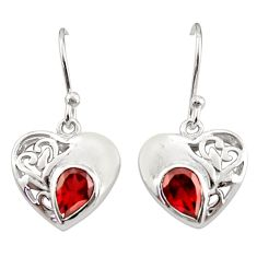 925 sterling silver 3.32cts natural red garnet dangle heart earrings d40067