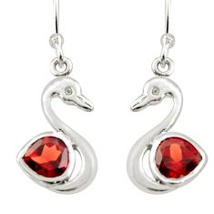 925 sterling silver 2.60cts natural red garnet duck charm earrings d40074