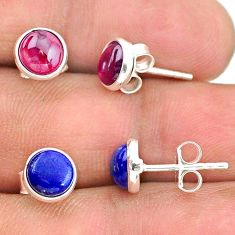 925 sterling silver 4.09cts natural red garnet lapis lazuli stud earrings t23930