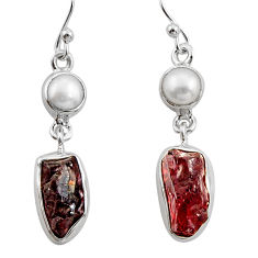 925 sterling silver 14.47cts natural red garnet rough pearl earrings r26595