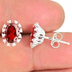 925 sterling silver 3.97cts natural red garnet handmade stud earrings r82877