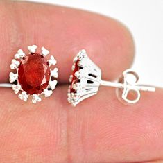 925 sterling silver 3.95cts natural red garnet handmade stud earrings r82899