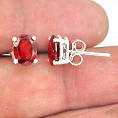 925 sterling silver 4.11cts natural red garnet handmade stud earring r83696