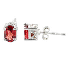 925 sterling silver 3.44cts natural red garnet stud earrings jewelry r87451