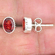 925 sterling silver 2.93cts natural red garnet stud earrings jewelry t4475