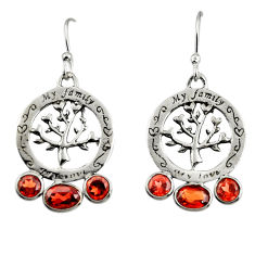 925 sterling silver 5.93cts natural red garnet tree of life earrings r32991