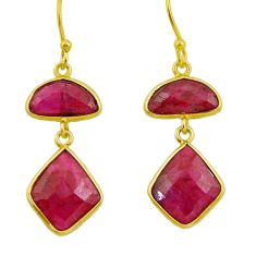 925 sterling silver 14.56cts natural red ruby 14k gold dangle earrings r32591