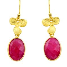 925 sterling silver 10.72cts natural red ruby 14k gold dangle earrings r32612