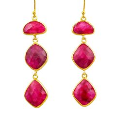 925 sterling silver 24.58cts natural red ruby 14k gold dangle earrings r32644