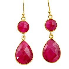 925 sterling silver 17.96cts natural red ruby 14k gold dangle earrings r32688