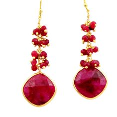 925 sterling silver 19.09cts natural red ruby 14k gold dangle earrings r32767