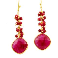 925 sterling silver 19.73cts natural red ruby 14k gold dangle earrings r32770
