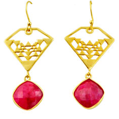 925 sterling silver 15.97cts natural red ruby 14k gold dangle earrings r32844