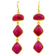 18.39cts natural red ruby 14k gold handmade dangle earrings t11544