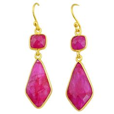 14.85cts natural red ruby 14k gold handmade dangle earrings t11644