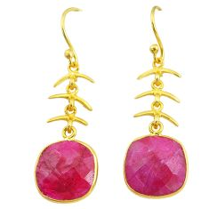 11.23cts natural red ruby 14k gold handmade dangle earrings t11664