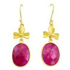 Handmade 16.49cts natural red ruby 14k gold dangle earrings jewelry t16430