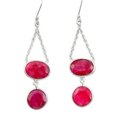 925 sterling silver 20.94cts natural red ruby chandelier earrings jewelry d39824
