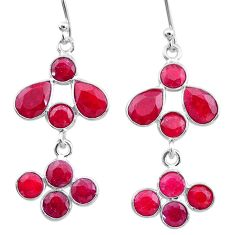 925 sterling silver 9.22cts natural red ruby chandelier earrings jewelry t12426