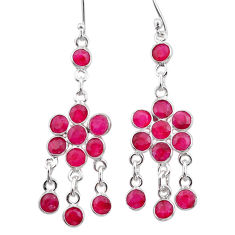 925 sterling silver 11.53cts natural red ruby chandelier earrings jewelry t38874