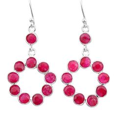 925 sterling silver 8.70cts natural red ruby chandelier earrings jewelry t38877